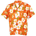 Hawaiian Shirt Aloha Big Chaba Hibiscus Holiday Sea Beach Orange XL he258o