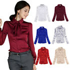 OL Elegant Slim Satin Long Sleeve Blouse Lapel Removable Bowknot Shirt