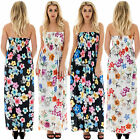 New Womens Elasticated Boob Tube Flower Floral Blossom Flowy Dress 8 14 16 18 22
