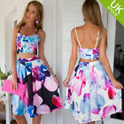 Women's Floral Summer Beach Strappy Crop Top +Midi Skirt 2 Pcs Sets Party Dress