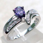 FASCINATING 1 CT AMETHYST 925 STERLING SILVER RING SIZE 5-10