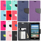 For LG K4 LTE / Spree Leather 2 Tone Wallet Case Pouch Flip Phone Cover