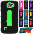 For LG Optimus Zone 3 IMPACT Hard Protector Rubber Case Phone Cover Kickstand