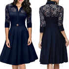 Casual Womens Office Party Cocktail Evening Lace Dress Elegant Midi Dress P83