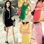 Sexy Women Bodycon Camisole Vest Sleeveless Long Tank Tops Bodycon Mini Dress