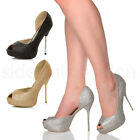 WOMENS LADIES HIGH HEEL PARTY D'ORSAY GLITTER PEEP TOE COURT SHOES SANDALS SIZE