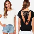 Sexy Backless Summer Fashion Women Casual Short Sleeve Blouse T Shirt Tops CHIC