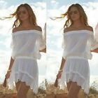 Sexy Women Off shoulder Lace Crochet Bikini Cover Up Swimwear Summer Beach Dress