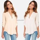 FashionSexy  Womens Loose Chiffon V Neck Tops Long Sleeve T Shirt Casual Blouse