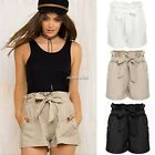 Women Hot Pants Casual Summer Beach Pockets Shorts Elastic Waist Short + Belt
