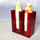 Coffee Paper Cup Lid Holder Dispenser Organizer Coffee Shop Case Counter 2SL Red