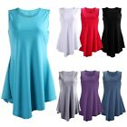 Women's Flare Tunic Tank Top Summer Blouse Sleeveless Handkerchief Hem Shirt