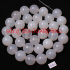 "Smooth Round Shape White Aagte Onyx Gemstone Spacer Beads Strand 15"" Pick Size"