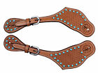 Tahoe Basket Tooled Spur Straps with Turquoise Spots London Tan or Dark Oil