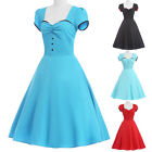 Vintage Retro Summer Swing 40s 1950s Pinup Housewife Party Cocktail Womens Dress