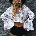 Sexy Fashion Women Long Flare Sleeve Floral Print Crop Tops Blouse Beauty EN24H