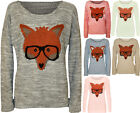 New Womens Fox Glasses Knitted Jumper Ladies Long Sleeve Stretch Print Top 8-14
