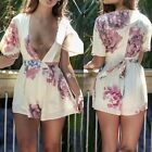 Sexy Women Fashion Deep V-Neck Flare Half Sleeve Boot Cut Floral Jumpsuit DZ88