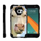 For HTC 10 | One M10 | Dual Bumper Case  Kickstand- Cow Licking Nose