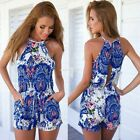 New Womens Boho Floral Playsuit Summer Party Shorts Jumpsuit Rompers Dress EN24H