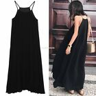 2016 Women Chiffon Casual Spaghetti Strap Pleated Loose Long Maxi Dress EN24H