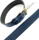 14mm 1 PIECE CABOUCHON WATCH STRAP. NAVY BLUE LIZARD GRAIN LEATHER REG OR LONG