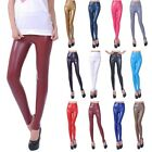 Women Faux PU Leather High Wrist Stretch Leggings Pants Trousers XS-L