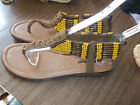 NWOB Brown Leather Yellow Beaded MINNETONKA Thongs Sandals SIzes 5 6