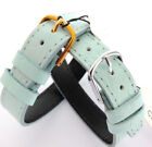 14mm 1 PIECE PALE TURQUOISE CABOUCHON WATCH STRAP. CROC GRAIN LEATHER. EASY FIT