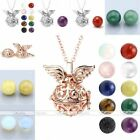 New Natural Gemstone Angle Wing Open Locket Pendant Chain Necklace Women Jewelry