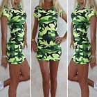 Womens Camouflage Printed Bodycon Mini Dress Ladies Short Sleeve Tunic Long Tops