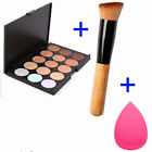 15 Colors Contour Face Cream Makeup Concealer Palette Sponge Powder Brush UF