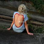 Womens Short Sleeve Heart Shape  Backless Tops Blouse Casual Shirts T-shirt Tee
