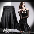 punk visual rock constable league handcuff chain pleated leather skirt SKT010