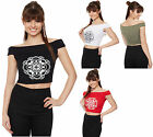 New Womens Off Shoulder Stretch Short Floral Print T-Shirt Vest Ladies Crop Top