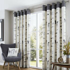 BIRDS FEATHER EYELET RING TOP FULLY LINED PAIR READY MADE CURTAINS GREY CREAM