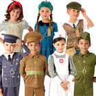 World War Kids Fancy Dress WW1 WW2 Historical Boys Girls Childrens Costumes New