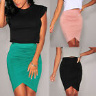 New Women's High Waist Draped Bandage Bodycon Pencil Skirts Mini Dress Clubwear