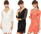 Womens Lace V Neck Dress Floral Zip Neck Lined Long Sleeve mini New Ladies 8-14