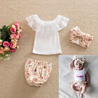Girl Newborn Baby Headband+Top+Pants Shorts Diaper Cover T-shirt Clothes Outfit