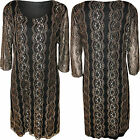 New Plus Size Womens Black Lace Lined 3/4 Sleeve Ladies Crochet Dress 14 - 28
