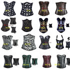 Sexy Women Skull Heads Print Lace Up Boned Corset Bustiers Personal Party Style