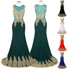 GK Golden Appliques Ball Gown Evening Prom Party Dress Mermiad Bridesmaids Maxi