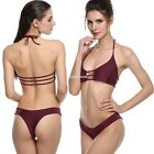 Fashion Women Sexy Padded Halter Hollow Low Waist Bikini Set Swimsuit Hot  EN24H
