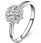Solid 925 Sterling Silver Created Diamond Wedding Bridal Engagement Ring R58