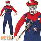 Zombie Plumber Mens Halloween Fancy Dress Mario Game Horror Adult Costume Outfit