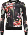 Womens Large Floral Print Bomber Jacket Ladies Plain Long Sleeve Zip Stretch