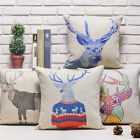 Cartoon Painting Animal Elk Deer Sofa Decor Pillow Case Cushion Cover Square 18""