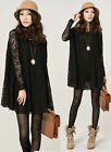 Fashion Women's Black / white long-sleeved lace dress bottoming Summer skirt New