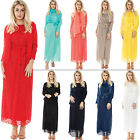 New Womens Mesh Net Long Sleeved Belt Scarf Scoop Neck Jibab Maxi Dress One Size